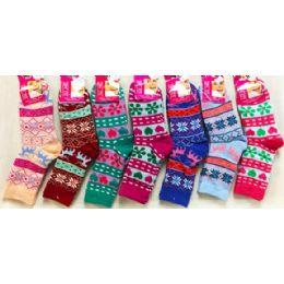 Double Layered Knitted Women Girls' Winter Socks 48 pack