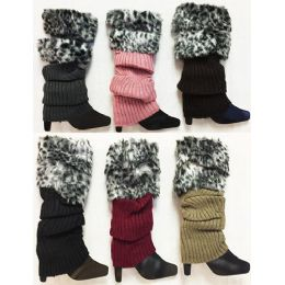 Knitted Faux Leopard Printed Fur Bootcover Leg Warmer 24 pack