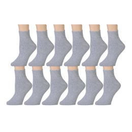 Yacht & Smith Kids Cotton Quarter Ankle Socks In Gray Size 6-8 60 pack
