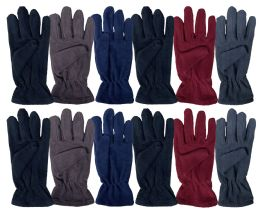 Yacht & Smith Mens Double Layer Fleece Gloves Packed Assorted Colors 36 pack