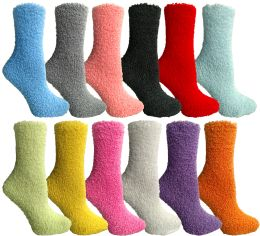 Yacht & Smith Women's Solid Colored Fuzzy Socks Assorted Colors, Size 9-11 24 pack