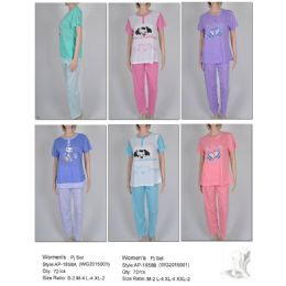 Ladies 2 Piece Summer PJ Set 72 pack