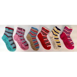 Kids Gripper Bottom Sweater Socks, With Fuzzy Trimming 72 pack