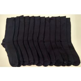 Boys Navy Ribbed Dress Socks, Size 9-11 120 pack