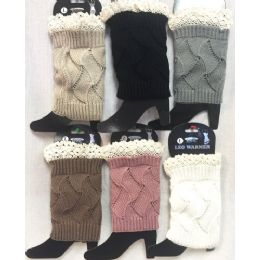 Solid Color Knitted Boot Topper with Crochet Top 24 pack