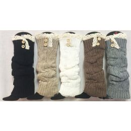 Solid Color Knitted Long Boot Topper Crochet Top Button 12 pack