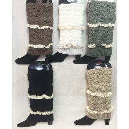 Solid Color Knitted Boot Topper with Double Crochet Top 24 pack