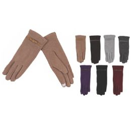 Womens Fashion Fur Lined Cotton Gloves Assorted Color Touch Screen Capable 72 pack