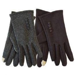 Winter Ladies Sensitive Touch Gloves with Buttons 24 pack