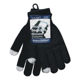 Winter Black Dotted Texting Glove 96 pack