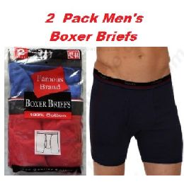 FRUIT LOOM - HANES 2PK MEN BOXER BRIEFS IN FAMOUS BRAND PACKAGING 48 pack