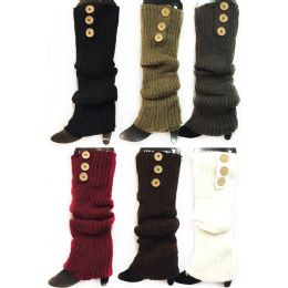 Knitted Long Boot Toppers Leg Warmers 3 buttons 24 pack