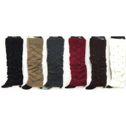 Knitted Boot Toppers Leg Warmers with Rhinestones 24 pack