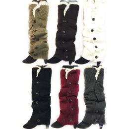 Long Knitted Boottopper Leg Warmers Lace Trim 24 pack
