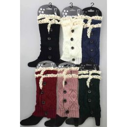 Short Boot Topper Leg Warmer with Lace Trim and Buttons 24 pack