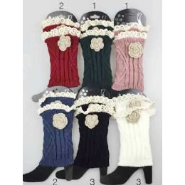Knitted Boot Topper Lace Top with Lace Flower 24 pack
