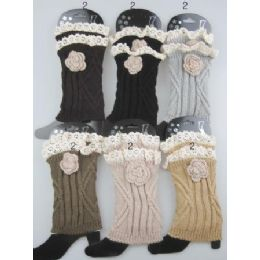 boot topper leg warmer with flower Neutral color ast 24 pack
