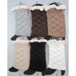Interlocking Knitted Boot Toppers Leg Warmers with Lace 24 pack