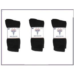 Ladies Diabetic Crew 3 Pair Pack -Black Size 9-11 60 pack