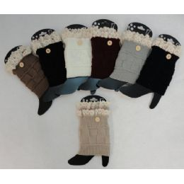 Knitted Boot Cuffs [1 Button-Antique Lace] 12 pack