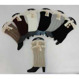 Knitted Boot Cuffs [2 Buttons-Antique Lace] 24 pack