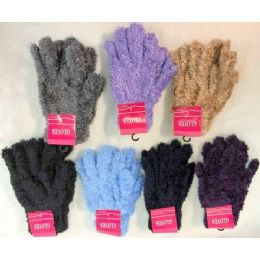 Adult unisex fuzzy glove assorted colors 120 pack