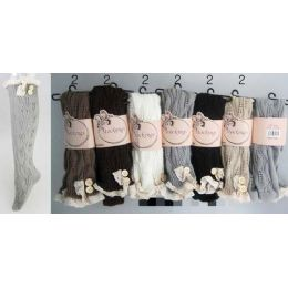 Solid Color Knitted Stockings with Lace Trim Assorted 24 pack