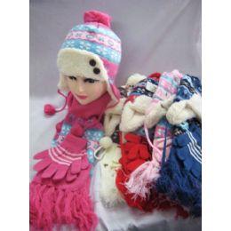 Kids 3 Piece Winter Set - Hat Glove Scarf 48 pack