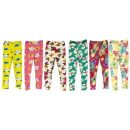 Wholesale Kids Legging with Butterfly Cat and Flower Prints 6-8 24 pack