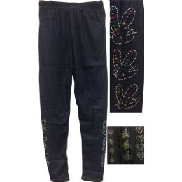 Dark Jean Colored Kids Leggings with Decors 12 pack