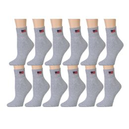 Yacht & Smith Women's Usa American Flag Low Cut Ankle Socks, Size 9-11 Gray 180 pack