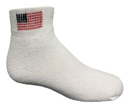 Yacht & Smith Kids Usa American Flag White Low Cut Ankle Socks, Size 6-8 60 pack