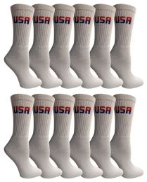 Yacht & Smith Women's USA American Flag Crew Socks, Size 9-11 White BULK PACK 120 pack