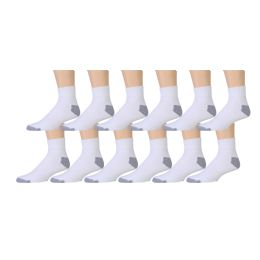 Yacht & Smith Men's King Size Cotton Sport Ankle Socks Size 13-16 Solid White 180 pack
