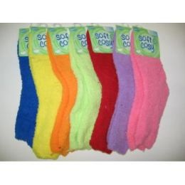 WOMEN'S FUZZY SLIPPER SOCKS 144 pack
