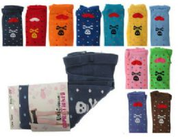 Assorted colored capri tights with skull and heart designs 48 pack