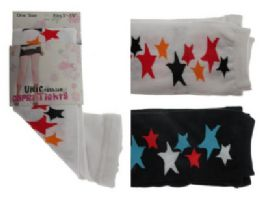 Black and white capri tights with star designs. 48 pack