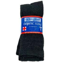 Black Diabetic Crew Socks 10-13 24 pack