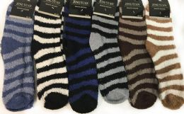 Man Fuzzy socks with Stripes Assorted 96 pack