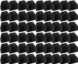 Yacht & Smith Unisex Winter Warm Beanie Hats In Solid Black 60 pack