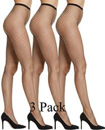 Yacht & Smith Women's Fishnet Pantyhose, High Waisted Mesh Stockings, Black, Queen Size