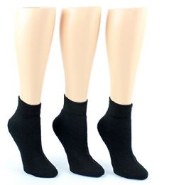 Yacht & Smith Women's Premium Cotton Ankle Socks Black Size 9-11 24 pack