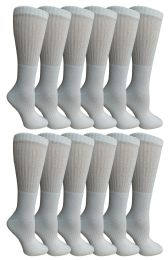 Yacht & Smith Women's Cotton Crew Socks White Size 9-11 12 pack