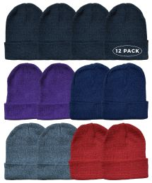 Yacht & Smith Ladies Winter Toboggan Beanie Hats In Assorted Colors 12 pack