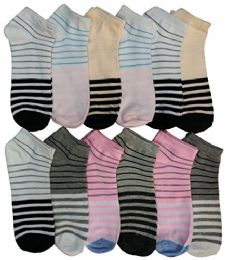Women's Cotton No Show Ankle Socks, , Assorted Colorful Patterns 12 pack