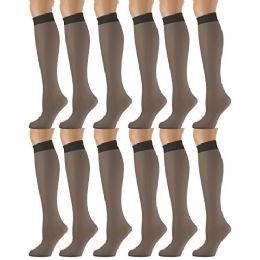 Yacht & Smith Trouser Socks For Women, 20 Denier Opaque Knee High Dress Socks