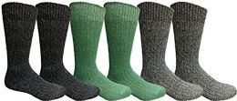 Yacht & Smith Men, Hunting Hiking Backpacking Thermal Sock 6 pack
