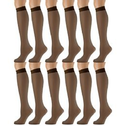 Yacht & Smith Trouser Socks For Women, 20 Denier Knee High Dress Socks French Coffee 12 pack
