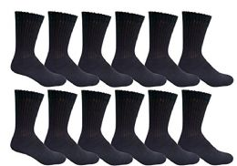 Yacht & Smith Men's Loose Fit Non-Binding Cotton Diabetic Crew Socks Black King Size 13-16