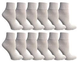 Yacht & Smith Women's Diabetic Cotton Ankle Socks Soft NoN-Binding Comfort Socks Size 9-11 White 12 pack